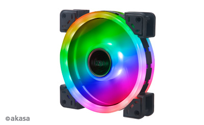 Akasa 12cm TWIN Loop, Dual Sided Addressable RGB LED Fan, Vegas TLX (ASUS Aura, MSI Mystic Light Sync, Gigabyte Fusion, ASRock Cert.)