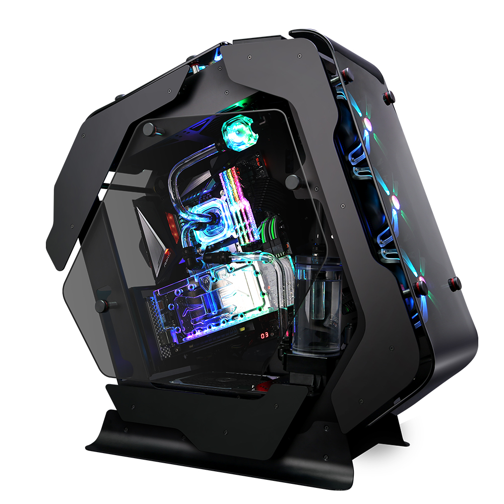 Zalman Z-Machine 500, Open frame Case (ATX Mid Tower) / - 2mm of Full anodized Aluminum chassis / - 5mm of Curved Tempered Glass on front, top and flat glass on left & right side / - 4 x 120mm RGB fans included (SF120) / - Z-SYNC included