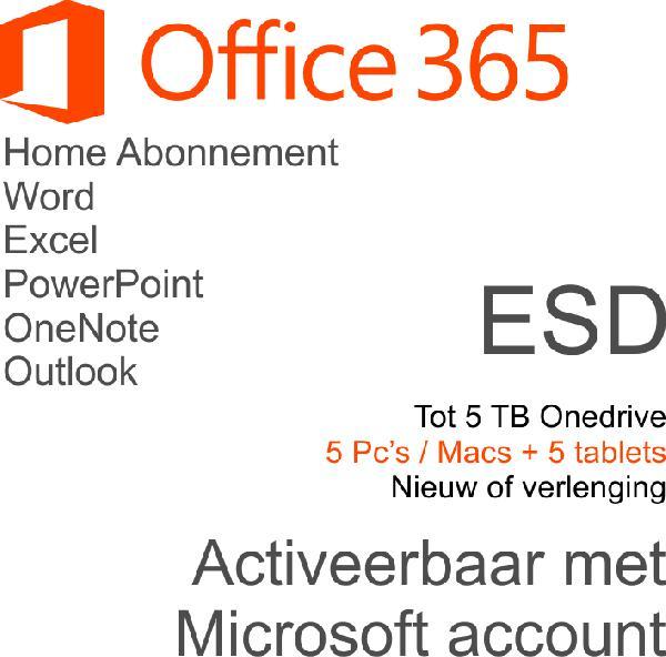 Microsoft Office 365 Home Nederlands - 6 Gebruikers - 1 jaar ESD
