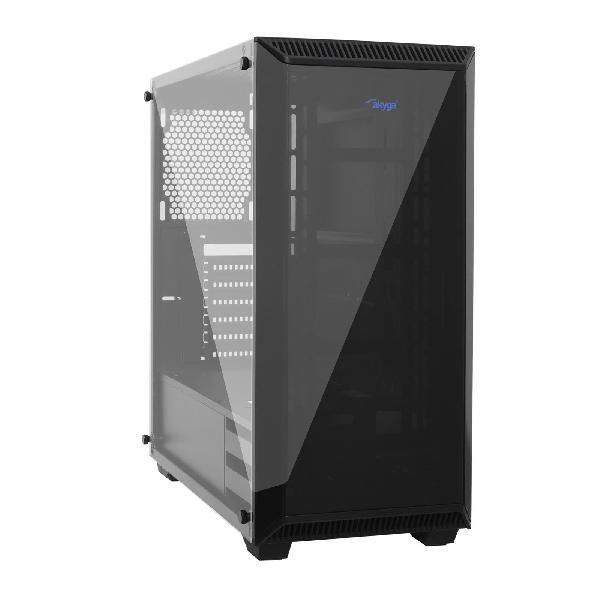 Akyga AKY015BK Midi ATX Case / Midi Gamer ATX, 2x 3,5 inch, 2x 2,5 inch, USB 3.0 gamer plexi window w/o PSU, w/o fans, 435 x 201 x 435 mm